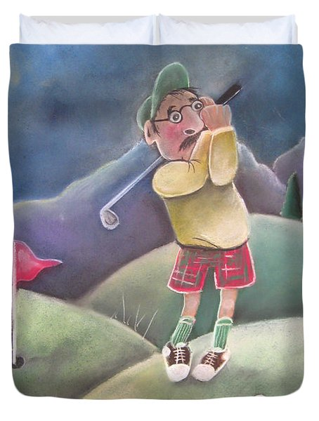 Out on the course Duvet Cover by Caroline Peacock