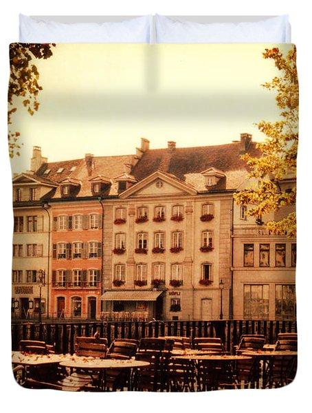 Outdoor Cafe in Lucerne Switzerland  Duvet Cover by Susanne Van Hulst