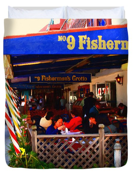 Outdoor Dining At The Fishermens Grotto Restaurant . Fisherman.s Wharf . San Francisco California Duvet Cover by Wingsdomain Art and Photography