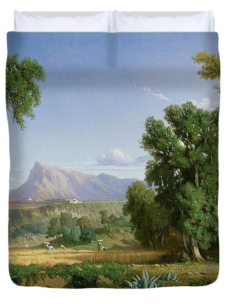 Outskirts Of Valdemusa Duvet Cover by Adolphe Paul Emile Balfourier