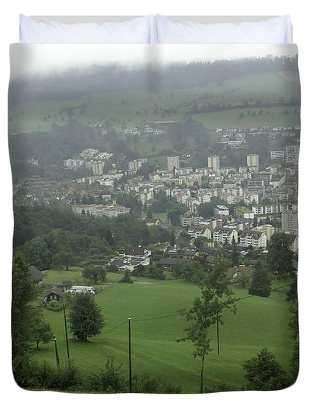 Ovehead View Of Houses From The Gondola Starting At Kriens In Switzerland Duvet Cover by Ashish Agarwal
