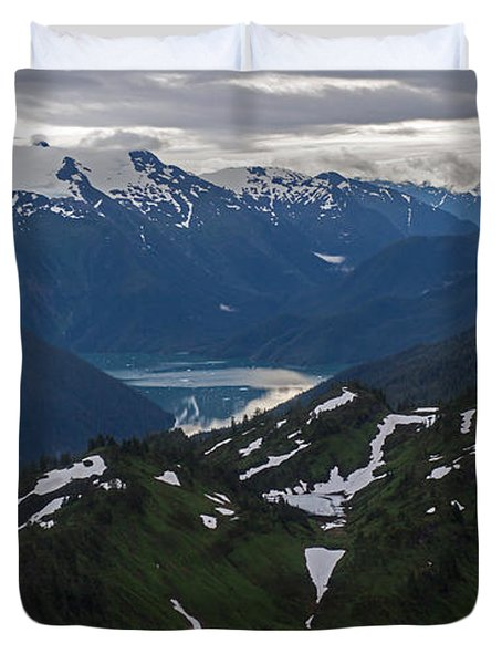 Over Alaska Duvet Cover by Mike Reid