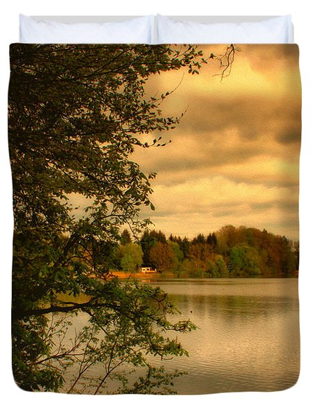 Overlooking The Lake Duvet Cover by Jutta Maria Pusl