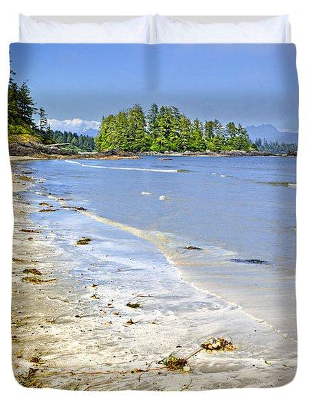 Pacific Ocean Coast On Vancouver Island Duvet Cover by Elena Elisseeva