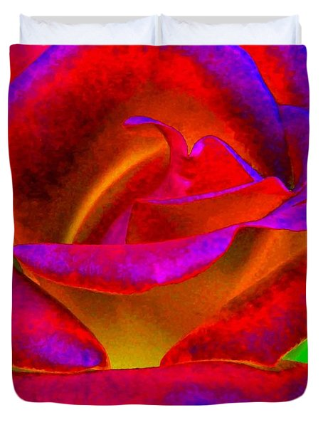 Painted Rose 1 Duvet Cover by Will Borden