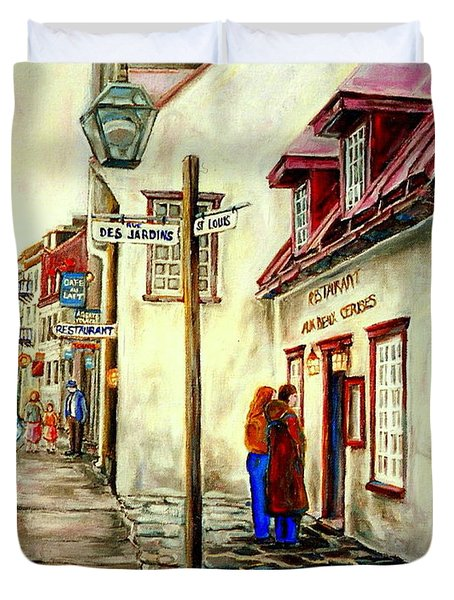 Paintings Of Quebec Landmarks Aux Anciens Canadiens Restaurant Rainy Morning October City Scene  Duvet Cover by Carole Spandau