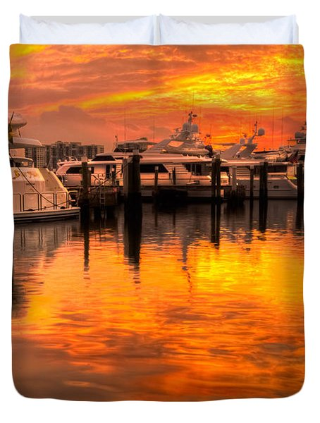 Palm Beach Harbor Glow Duvet Cover by Debra and Dave Vanderlaan