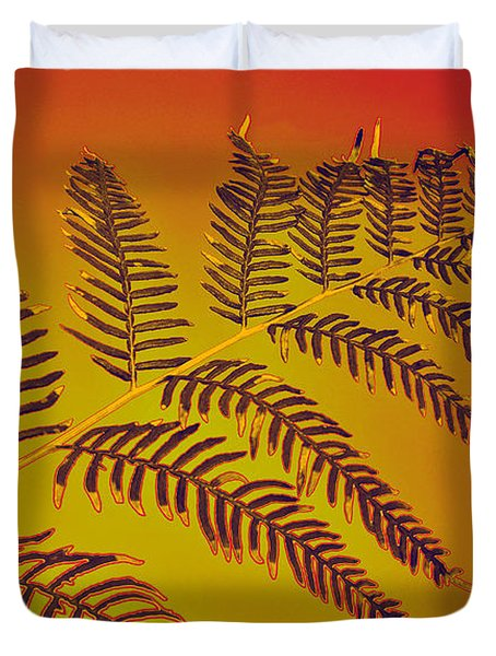 Palm Frond In The Summer Heat Duvet Cover by Kaye Menner