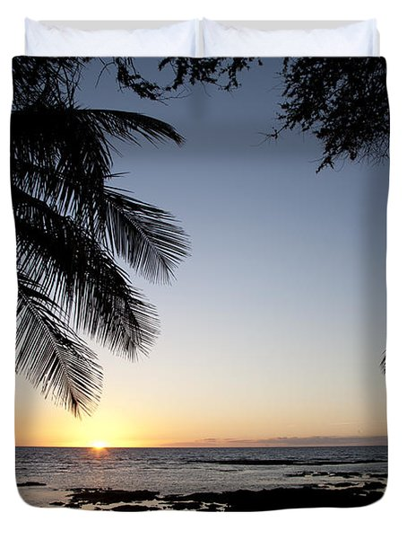 Palm Sunset Duvet Cover by Peter French