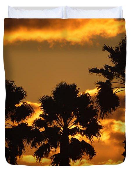 Palm Trees In Sunrise Duvet Cover by Susanne Van Hulst