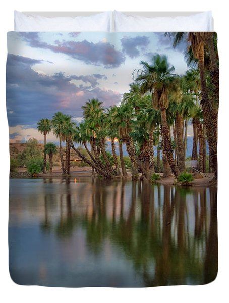 Palms Trees over Papago Lake Duvet Cover by Dave Dilli