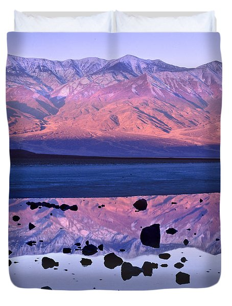 Panamint Range Reflected In Standing Duvet Cover by Tim Fitzharris