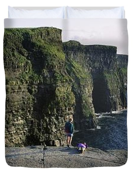 Panoramic View Of Cliffs, Cliffs Of Duvet Cover by The Irish Image Collection