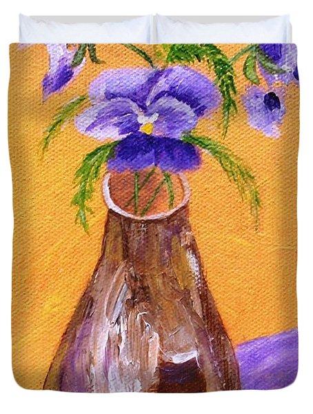 Pansies in Brown Vase Duvet Cover by Jamie Frier