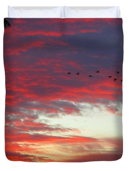 Papaya Colored Sunset With Geese Duvet Cover by Kym Backland
