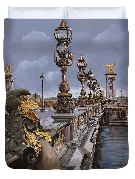 Paris-pont Alexandre III Duvet Cover by Guido Borelli