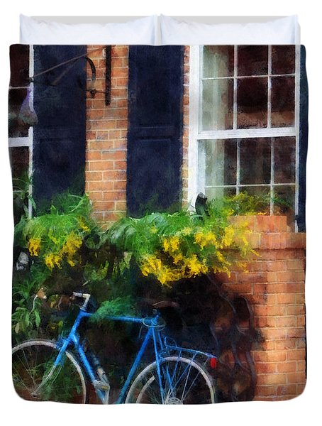 Parked Bicycle Duvet Cover by Susan Savad