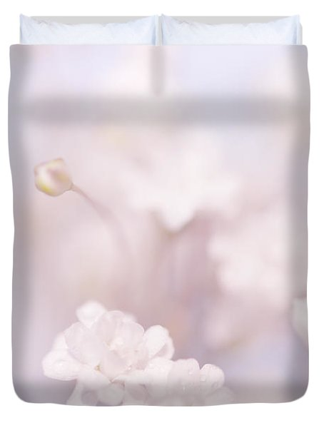 Passion For Flowers. White Pearls Of Gypsophila Duvet Cover by Jenny Rainbow
