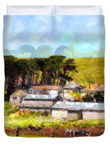 Pastoral Cattle Ranch Landscape  . 7d16047 Duvet Cover by Wingsdomain Art and Photography