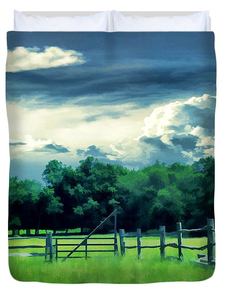 Pastoral Greenery Duvet Cover by Lourry Legarde