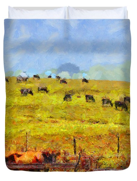 Pastoral Landscape Painterly . 7d15962 Duvet Cover by Wingsdomain Art and Photography