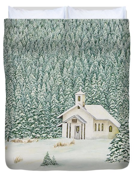 Peace In The Mountains Duvet Cover by Mary Ann King