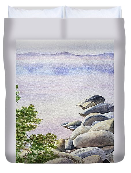 Peaceful Place Morning At The Lake Duvet Cover by Irina Sztukowski