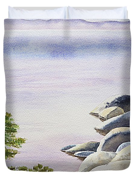 Peaceful Place Morning at The Lake Duvet Cover by Irina Sztukowski