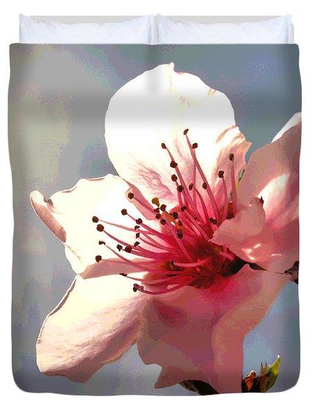 Peach Blossom Macro 2 Duvet Cover by Joyce Dickens