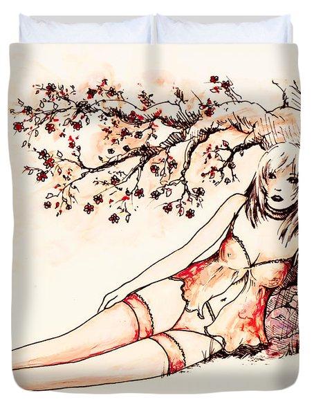 Peach Duvet Cover by Rachel Christine Nowicki