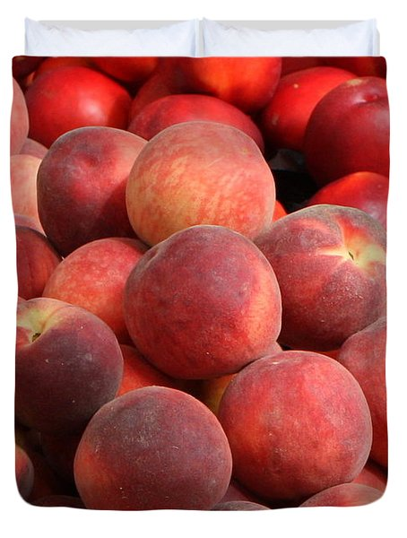 Peaches And Nectarines Duvet Cover by Carol Groenen