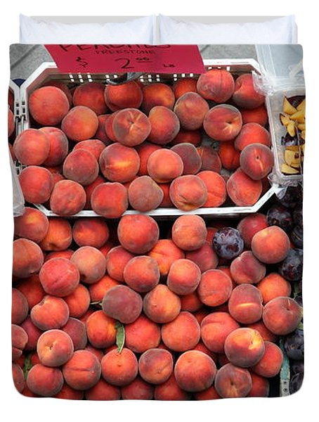 Peaches And Plums - 5d17913 Duvet Cover by Wingsdomain Art and Photography