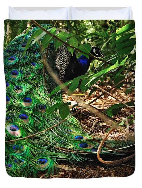 Peacock Hiding Duvet Cover by Kaye Menner