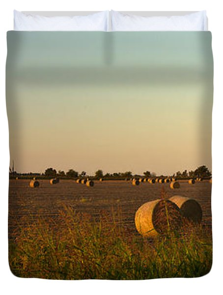 Peanut Field Bales At Dawn 1 Duvet Cover by Douglas Barnett