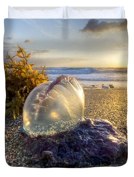 Pearl Of The Sea Duvet Cover by Debra and Dave Vanderlaan