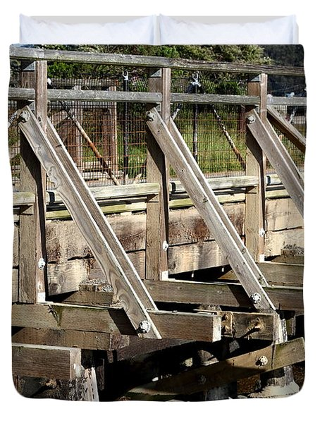 Pedestrian Bridge At Point Isabel In Richmond California . 7d15082 Duvet Cover by Wingsdomain Art and Photography