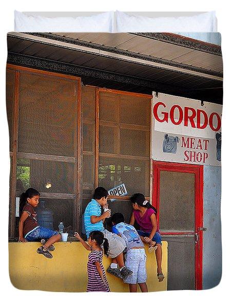 Peeking In The Meat Shop Duvet Cover by Li Newton