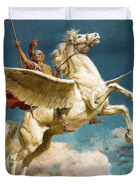 Pegasus The Winged Horse Duvet Cover by Fortunino Matania