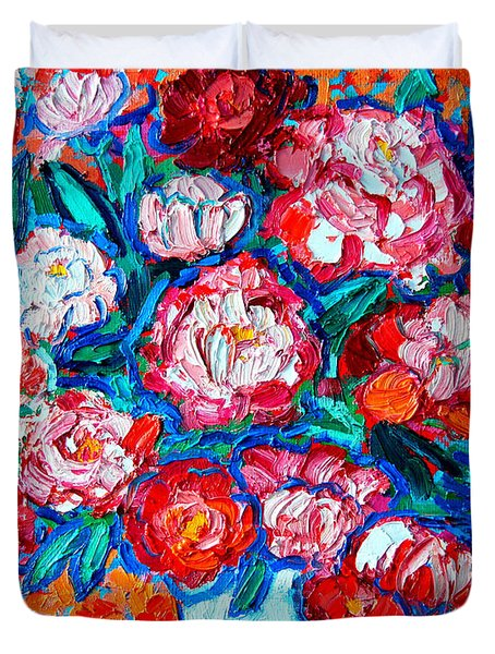 PEONIES BOUQUET Duvet Cover by ANA MARIA EDULESCU