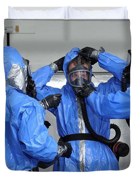 Personnel Dressed In Hazmat Suits Duvet Cover by Stocktrek Images