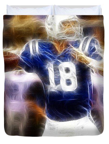 Peyton Manning Duvet Cover by Paul Ward