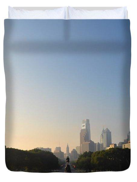 Philadelphia Across Eakins Oval Duvet Cover by Bill Cannon