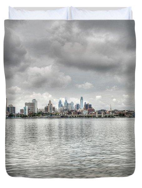 Philadelphia Across The Water Duvet Cover by Jennifer Ancker