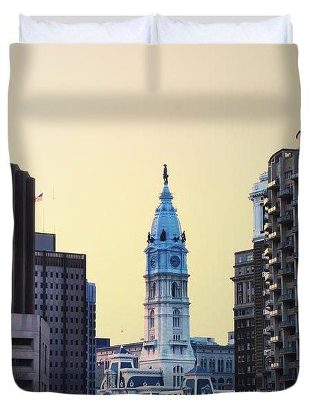 Philadelphia Cityhall At Dawn Duvet Cover by Bill Cannon