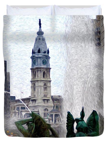 Philadelphia Fountain Duvet Cover by Bill Cannon