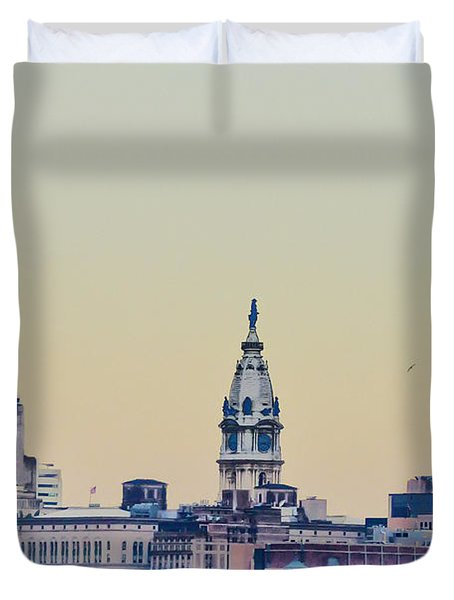 Philadelphia From South Camden Duvet Cover by Bill Cannon