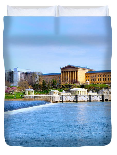 Philadelphia Museum of Art and the Philadelphia Waterworks Duvet Cover by Bill Cannon
