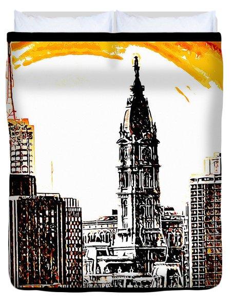 Philadelphia Poster Duvet Cover by Bill Cannon