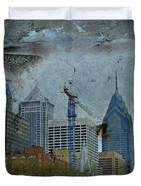 Philadelphia Skyline Duvet Cover by Mother Nature