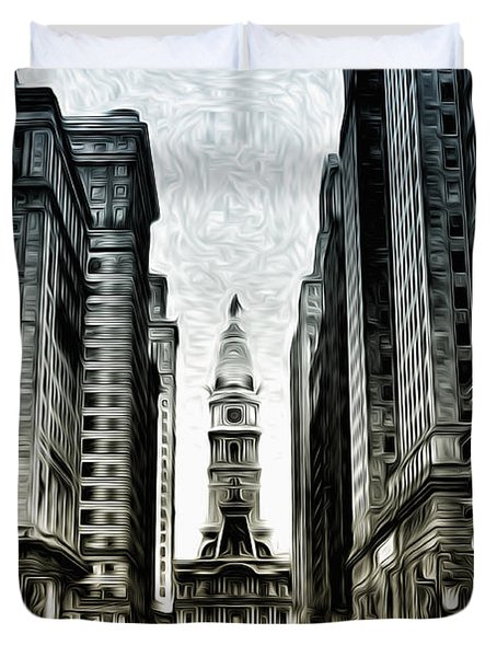 Philly - Broad Street Duvet Cover by Bill Cannon